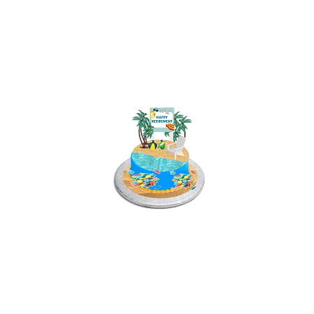 CakeSupplyShop Happy Retirement Cake Topper with Adirondack Chair, Beach Bucket, Palm Trees and Retirement Sign Sea Fish Sprinkles