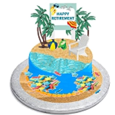 CakeSupplyShop Happy Retirement Cake Topper with Adirondack Chair, Beach Bucket, Palm Trees and Retirement Sign Sea Fish Sprinkles](Beach Cake Topper)