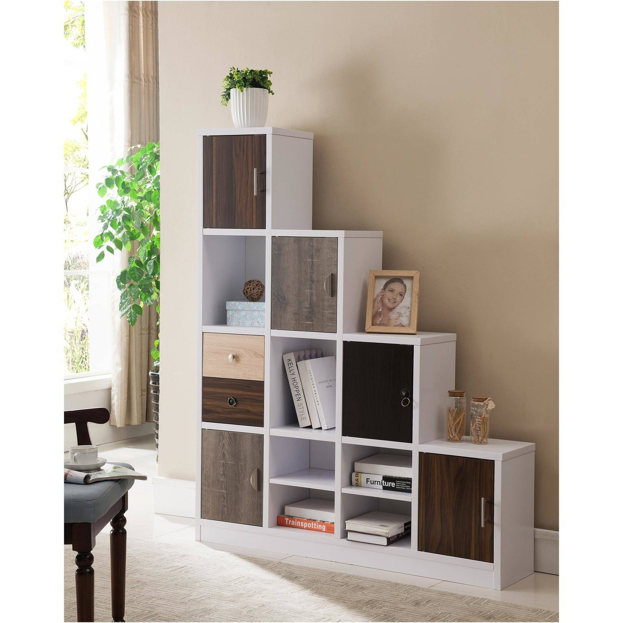 Furniture of America Stilla Boxed Shelf Display Case, White