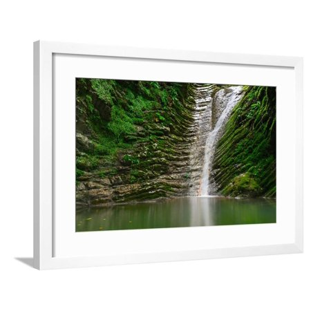 Amazing Natural View of Small Waterfall in Deep Forest Landscape.Scenery of Russian Nature with Awe Framed Print Wall Art By (Amazing Waterfall)
