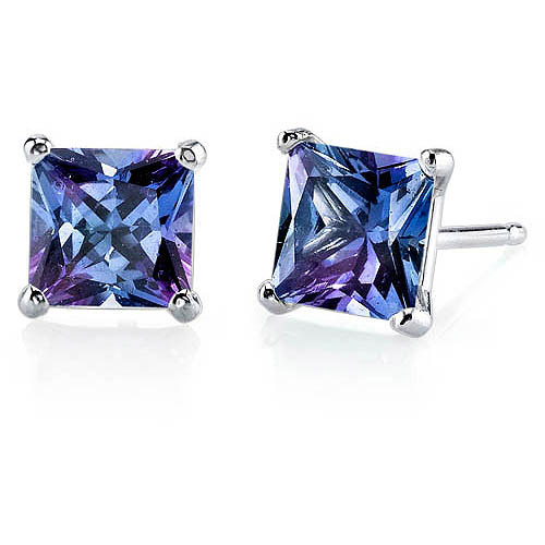 Oravo 3.00 Carat T.G.W. Princess-Cut Created Alexandrite 14kt White Gold Stud Earrings