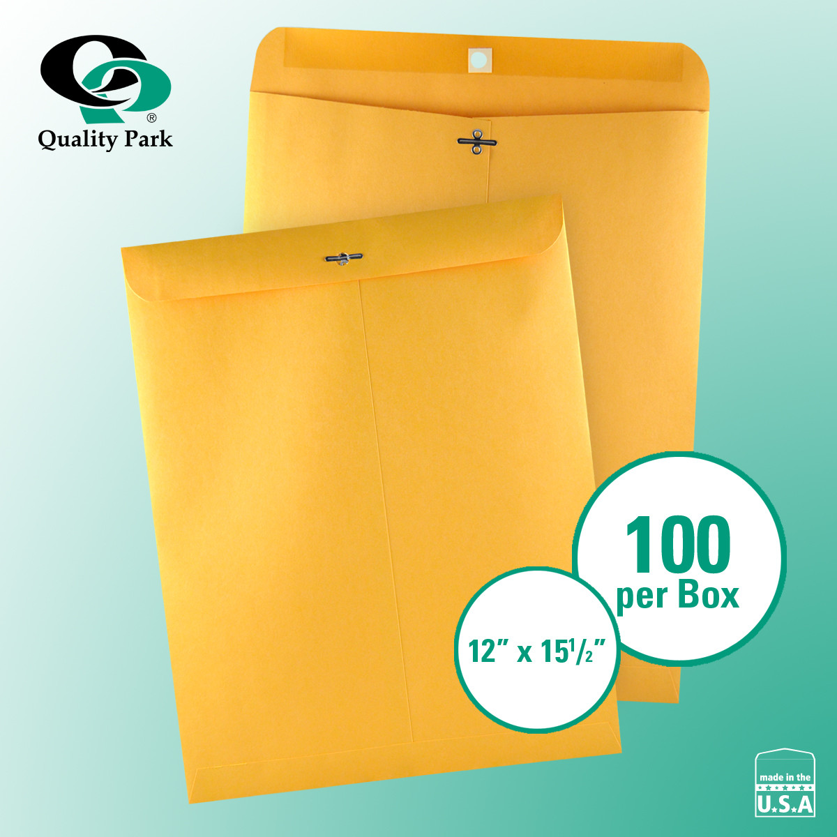 "Quality Park Clasp Envelope 12"" x 15-1/2"" Kraft 100ct"