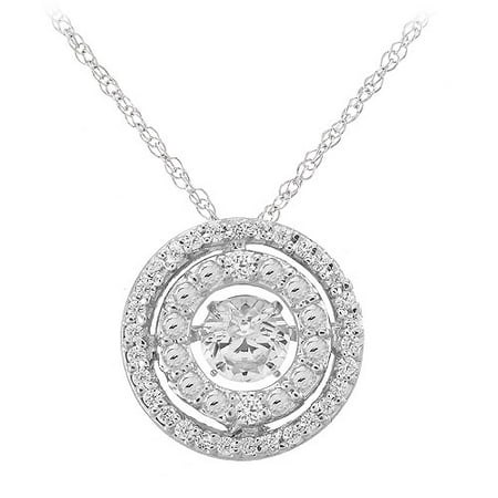 "Diamond Halo with Dancing Created White Sapphire Sterling Silver Pendant, 18"" Box Chain"