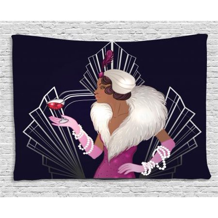Old Hollywood Tapestry, 1920s Style Lady with Fur Collar and Bracelets Holding a Sparkling Wine Glass, Wall Hanging for Bedroom Living Room Dorm Decor, 60W X 40L Inches, Multicolor, by Ambesonne - 1920s Room Decor