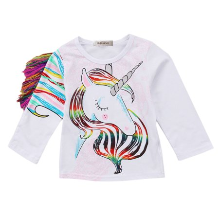 73d193af Styles I Love - Styles I Love Toddler Girls Rainbow Unicorn Fringe Mane Long  Sleeves Graphic Tee Shirt (100/3-4 Years) - Walmart.com