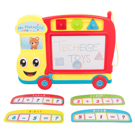 TECHEGE Travel Size Bus Magnetic Drawing Board - Sketch Doodle Educational Toys for Kids & (Doodle Board)
