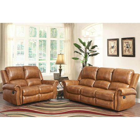 Abbyson Hayley Cognac Sofa and Loveseat Leather Set