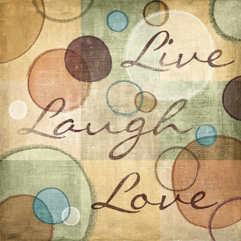 N Harbick Stretched Canvas Art - Live Laugh Love - Medium 24 x 24 inch Wall Art Decor Size.