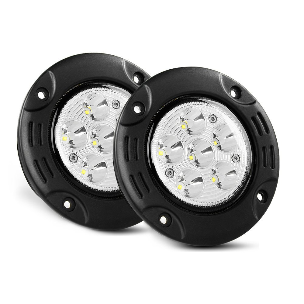 Nilight NI-18W-FMR Led Light Bar 2PCS 18W Spot Flush Mount LED Work Light Round Driving Lights Off Road Led Lights for Jeep Truck Tacoma Bumper ATV UTV,2 Years Warranty