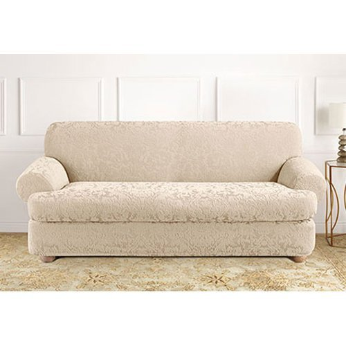 Sure Fit Stretch Jacquard Damask Loveseat Cover