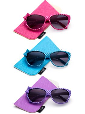 3 PK Kyra Plastic Polka Dot Bow Fashion Sunglasses for Kids