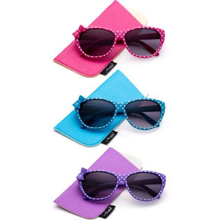 3 PK Kyra Plastic Polka Dot Bow Fashion Sunglasses for - Purple Striped Sunglasses