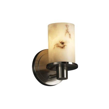Justice Design  Group LumenAria Rondo 1-light Brushed Nickel Wall Sconce, Faux Alabaster Cylinder - Flat Rim Shade