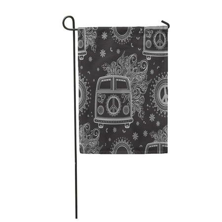 KDAGR Hippie Vintage Car Minivan Sign Popular for Flower Children Garden Flag Decorative Flag House Banner 28x40 inch - Hippie Flower Child