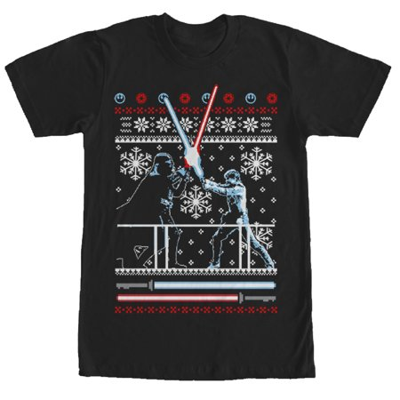 Star Wars Men's Ugly Christmas Sweater Duel T-Shirt](Star Wars Sweaters)