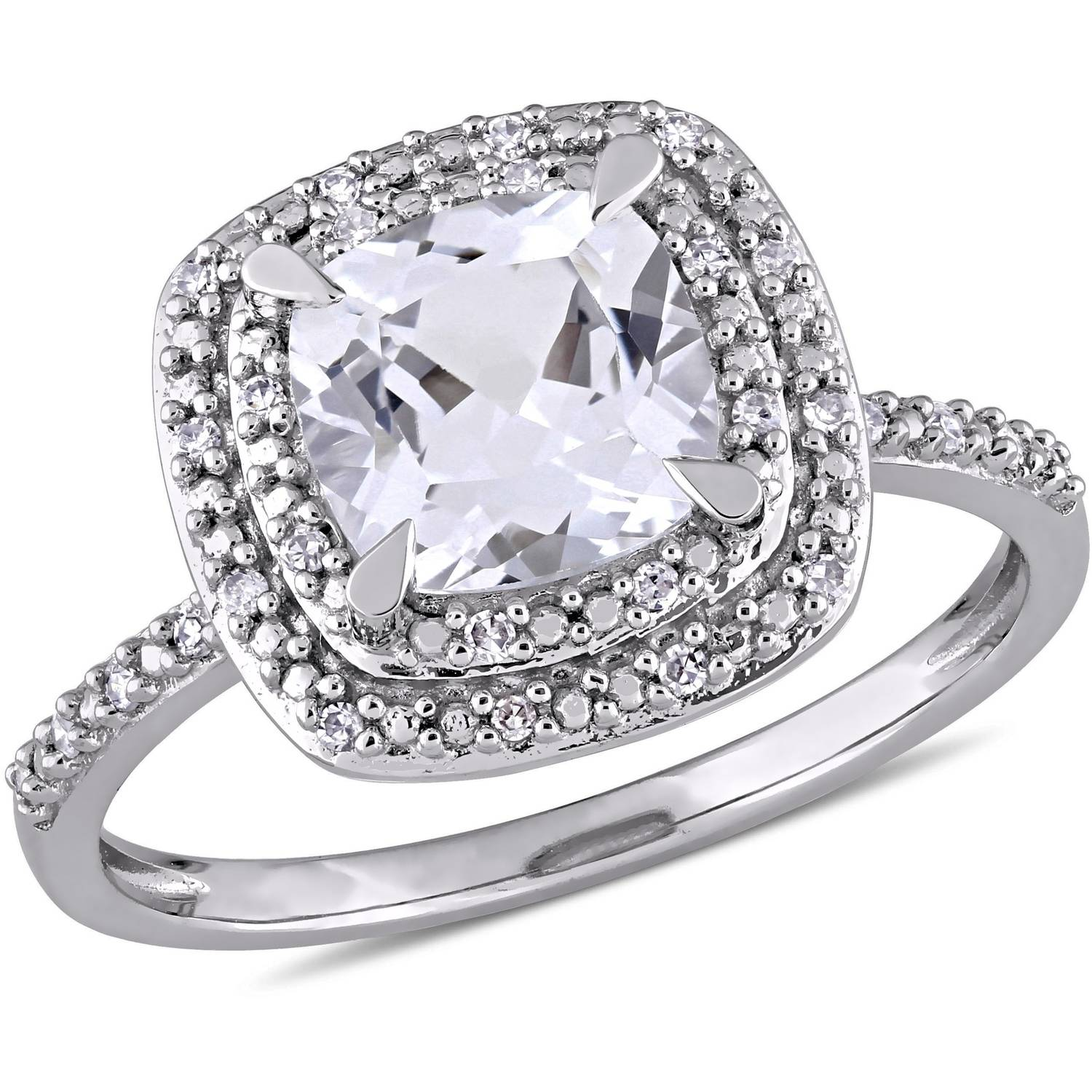 Miabella 2 Carat T.G.W. Created White Sapphire and 1 10 Carat T.W. Diamond 10kt White Gold Halo Engagement Ring by Miabella