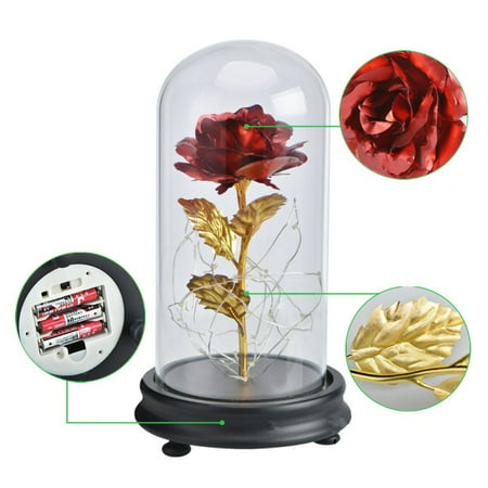 Lee Glass Plates (24K Gold Plated Rose Flower in Glass Dome LED Light Anniversary Day girlfriend Gift )