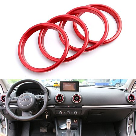 Xotic Tech 4 Pieces Aluminum Car Auto AC Air Condition Vent Outlet Decoration Ring Cover Trim for Audi A3 8V NEW [Red] Brushed Aluminum Trim Ring