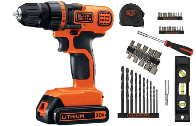 BLACK+DECKER 12 Volt Lithium Ion Cordless Drill With 64-Piece Project Tool Kit
