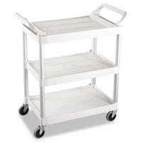 Rubbermaid Commercial Service Cart, 200-lb Cap, Three-Shelf, 18-5 8w x 33-5 8d x 37-3 4h, Off-White by RUBBERMAID COMMERCIAL PROD.