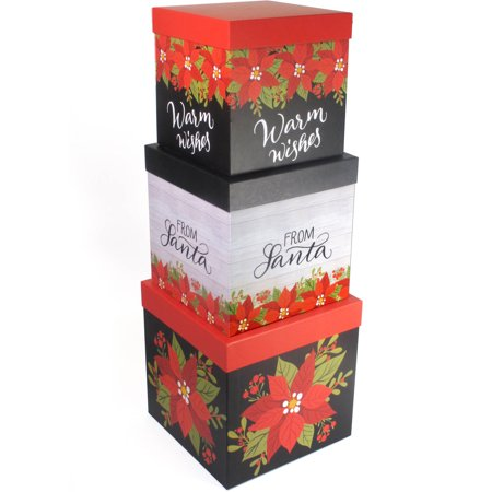 Set Of 3 Large Christmas Gift Boxes Poinsetta Design