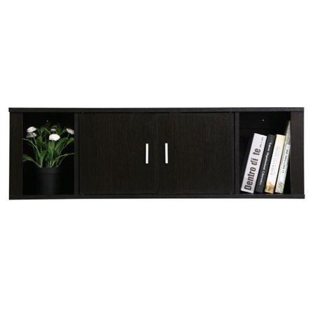 Yaheetech 2 Cube Wall Mounted Media Storage Cabinet 2 Door Floating Console Hutch Black (Wall Mounted Audio Video Console)