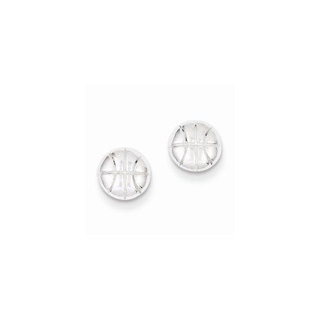 Sterling Silver Solid Polished Post Earrings Basketball Mini Children Earrings - 1.2 Grams](Basketball Earrings)