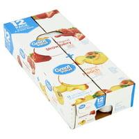 Great Value Original Strawberry + Peach Lowfat Yogurt, 6 oz, 12 count