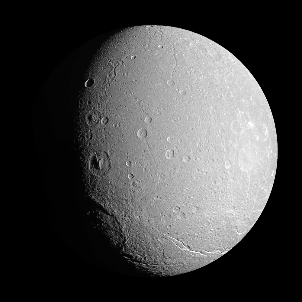 Saturns moon Dione Poster Print