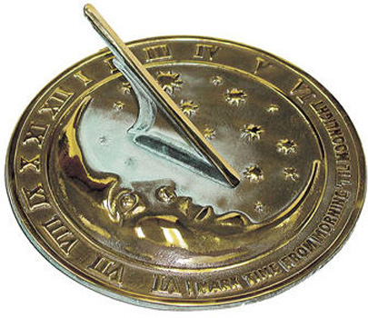 Rome Rome Moon & Stars Sundial Solid Brass withVerdigris Highlights by