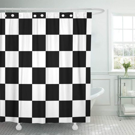 KSADK Chessboard Checker Board in Black and White Checkered for Chess Game Strategy Checkerboard Bathroom Shower Curtain 60x72 inch - Black & White Checkered
