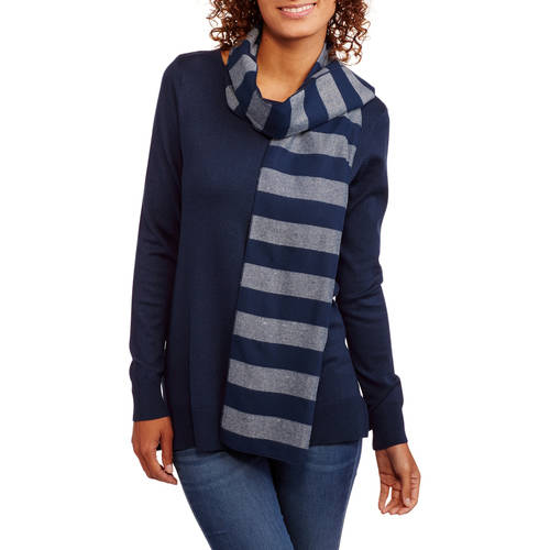 Heart and Crush Women's Pullover Sweater 2fer with Scarf
