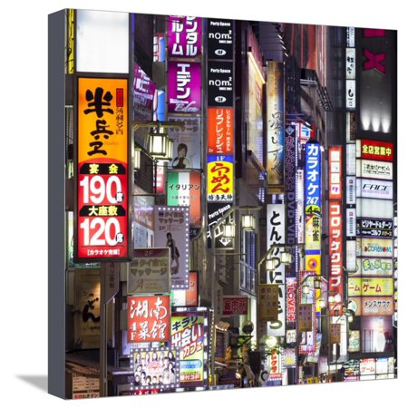 Colorful neon signs at the Kabukicho red light district, Shinjuku, Tokyo,  Japan Stretched Canvas Print Wall Art By Jan Christopher Becke