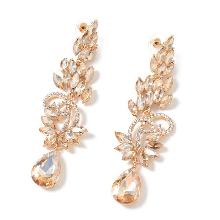 White Crystal Goldtone Marquise Champagne Glass Dangle Drop Earrings for Women Jewelry Cttw 8.2 (Champagne Glass Earrings)