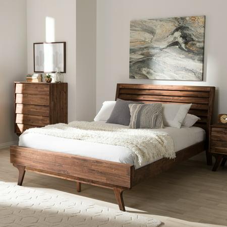 . Baxton Studio Sierra Mid Century Modern Brown Wood Queen Size Platform Bed