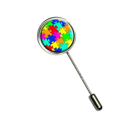 Shell Stick Pin - Rainbow Puzzle Pieces - Hearts Autism Stick Pin