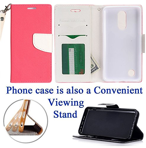 for LG K10 2017 K20 + PLUS K20 V Case Phone Case Mosaic Grained Hybrid Wallet Kick Stand Pouch Pocket Purse Screen Flip Cover Pink White