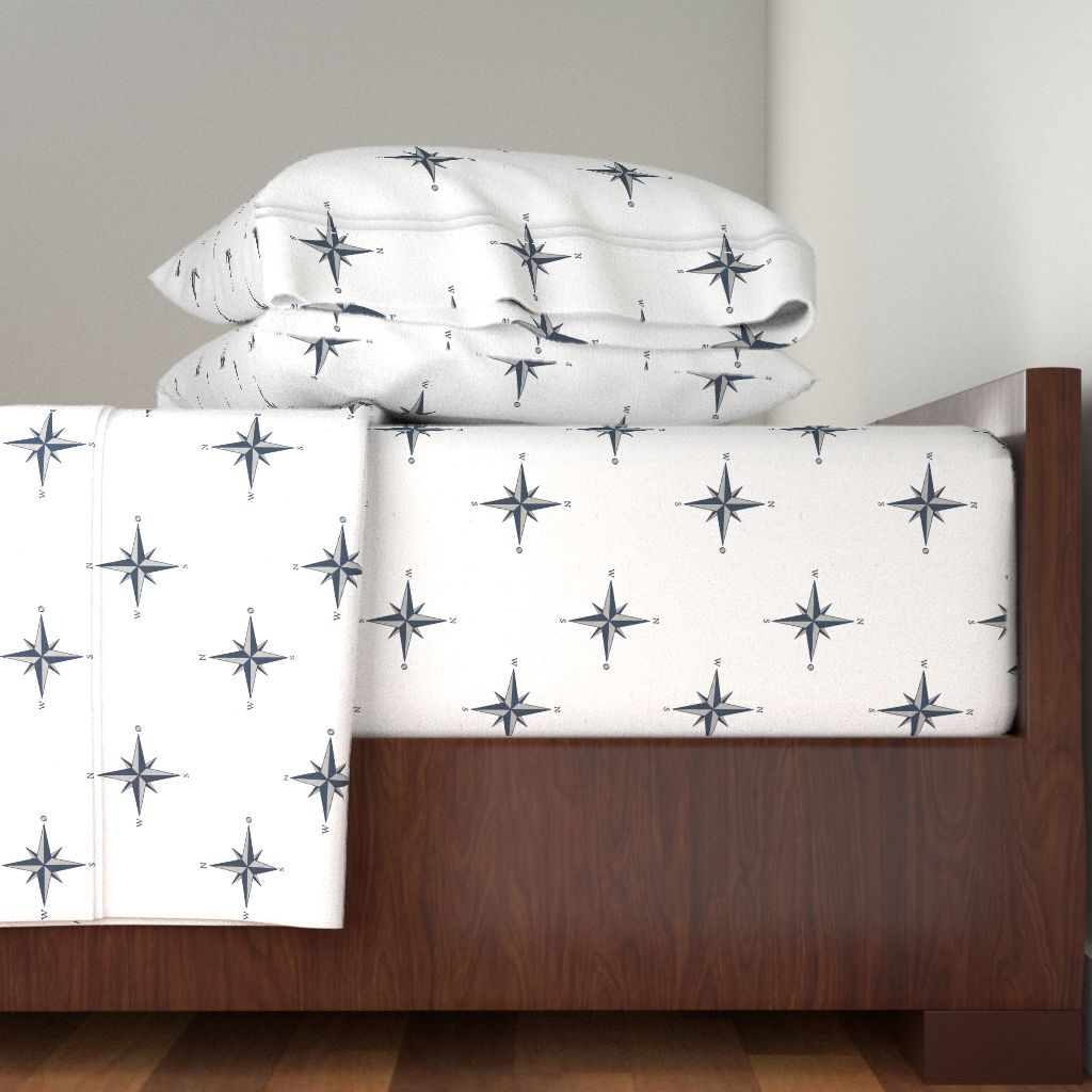 Wind Rose Whale Nautical Coastal 100% Cotton Sateen Sheet Set by Roostery