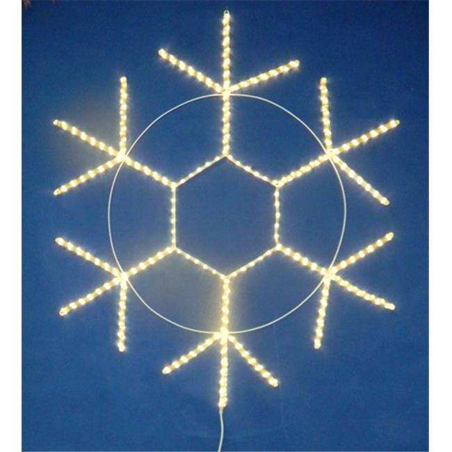 Queens of Christmas LED-SNOWF60-WW 60 inch Warm White LED Rope Light Snowflake