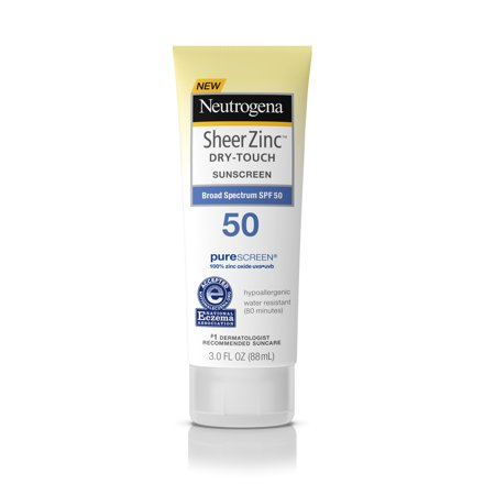 (3 pack) Neutrogena Sheer Zinc Dry-Touch Sunscreen Lotion with SPF 50, 3 fl. (Equate Clear Zinc Oxide Sunscreen Cream Spf 50)