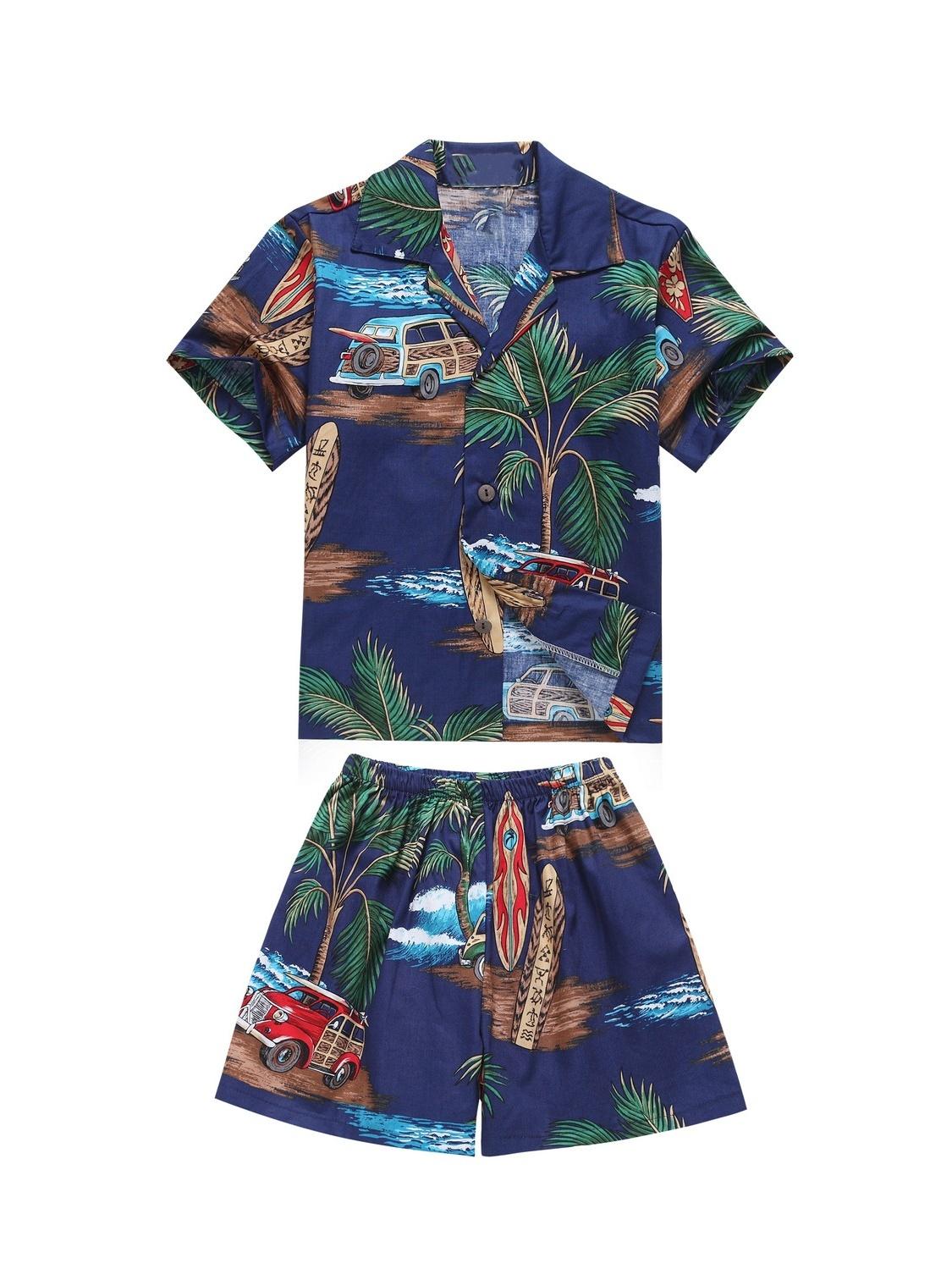 Made in Hawaii Luau Aloha Shirt and Shorts Boy Cabana Set Palm Mini Surfboards Blue 6