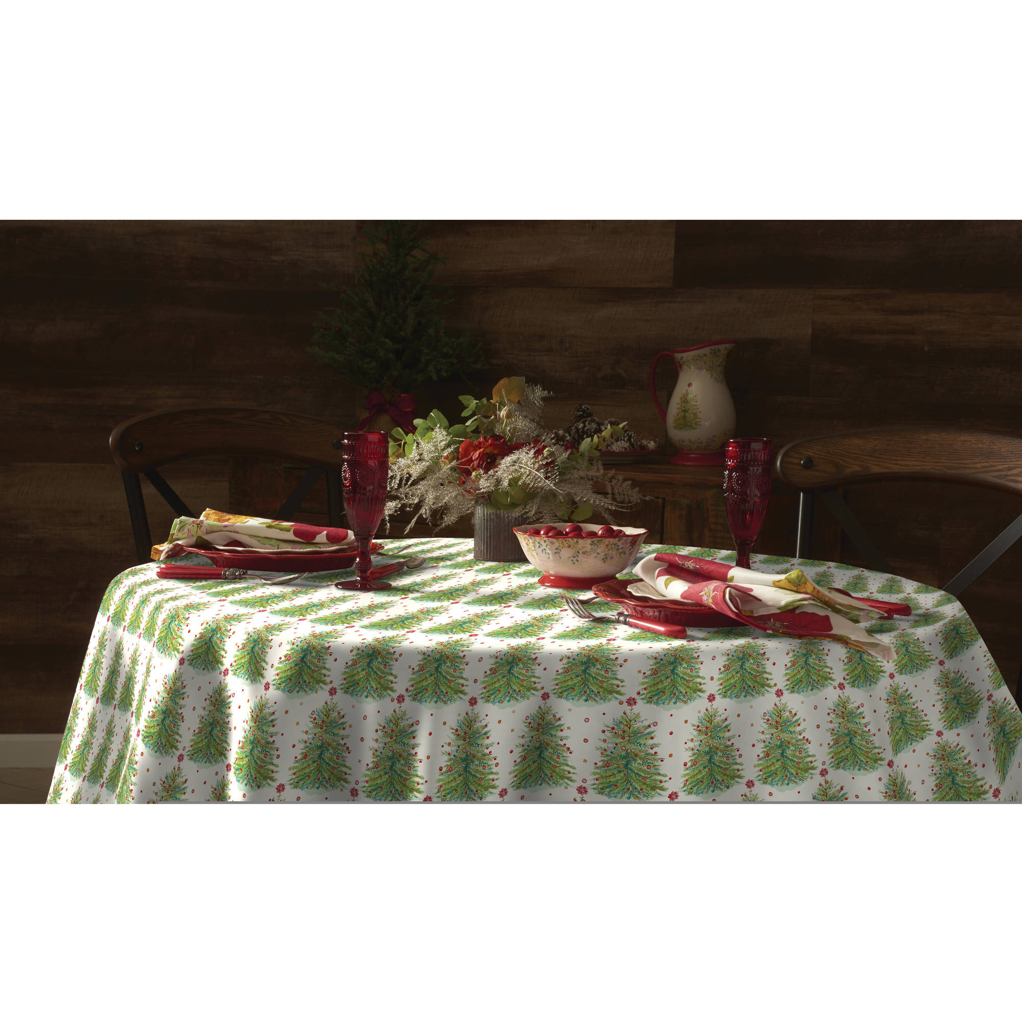 "The Pioneer Woman Holiday Tree Tablecloth, 70"" Round"