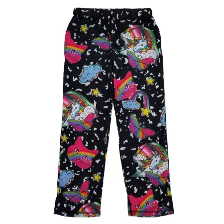 Mens Black Rainbow Kitty Unicorn Butterfly Lounge Pants Pajama Bottoms - Butterfly Pajamas