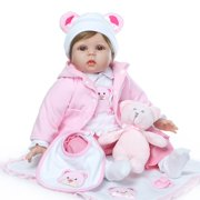 "22"" Newborn Baby Doll, Lovely Silicone Vinyl Reborn Baby Dolls, Kid Role Play Toy Doll with Clothe Accessories, Dolls for Girls, for Children 12 Months and Older, Birthday/Christmas Gift, W4709"