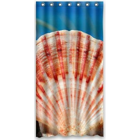 HelloDecor Seashells Shower Curtain Polyester Fabric Bathroom Decorative Size 36x72 Inches