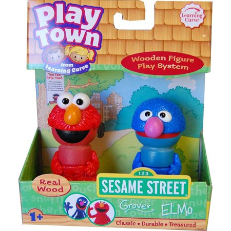 Sesame Street Play Town Learning Curve Real Wood 2pk Grover & Elmo (Grover Toy)