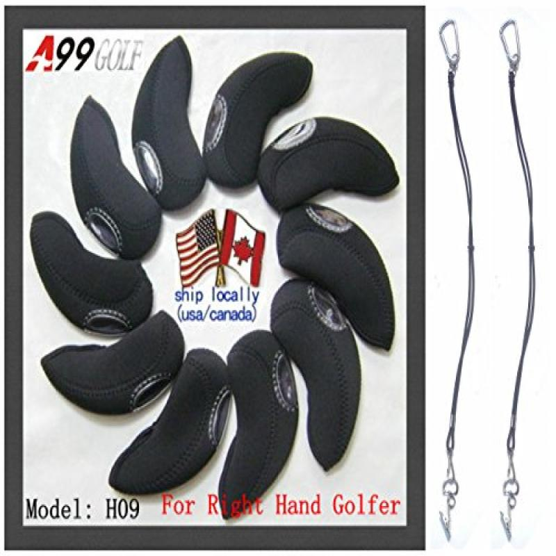 A99 Golf H09 Iron Head Covers 10pcs Black + 2 Leash Strap...