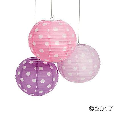 Pastel Polka Dot Hanging Paper Lanterns
