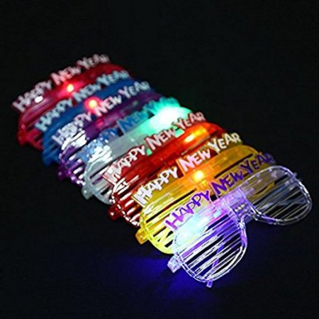 Happy New Year Champagne (12 Pairs of HAPPY NEW YEAR LED Flashing Light up Party Glasses Shades)