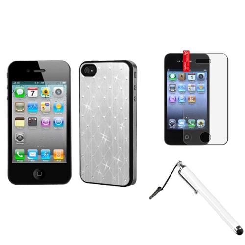Insten Silver Studded Back Plate Case (Black Sides) For iPhone 4 4S + Stylus + Protector